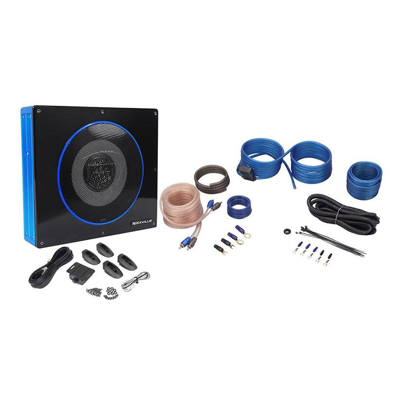 Rockville RW8CA 8-inch 600 Watt Under-Seat Slim Amplified Car Subwoofer + Wire Kit