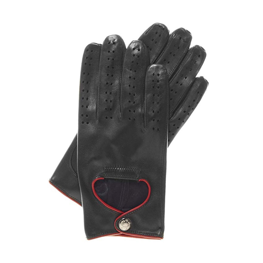 Fratelli Orsini Men's Leather Driving Gloves with Red Accent Piping