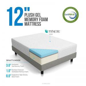 LUCID 12 Inch Gel Memory Foam Mattress-1